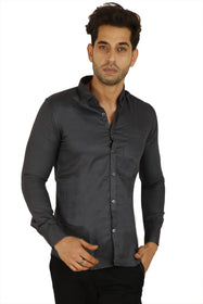 100% Cotton Black Plain Solid Casual Regular Fit Full Sleeves Shirt for Men