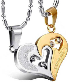 Stainless Steel I Love You Pendant, BROKEN HEART LOCKET,Valentine Special Bicolor I Love You Heart in Heart Couple Duo Pendant Chain Necklace BFF Lovers