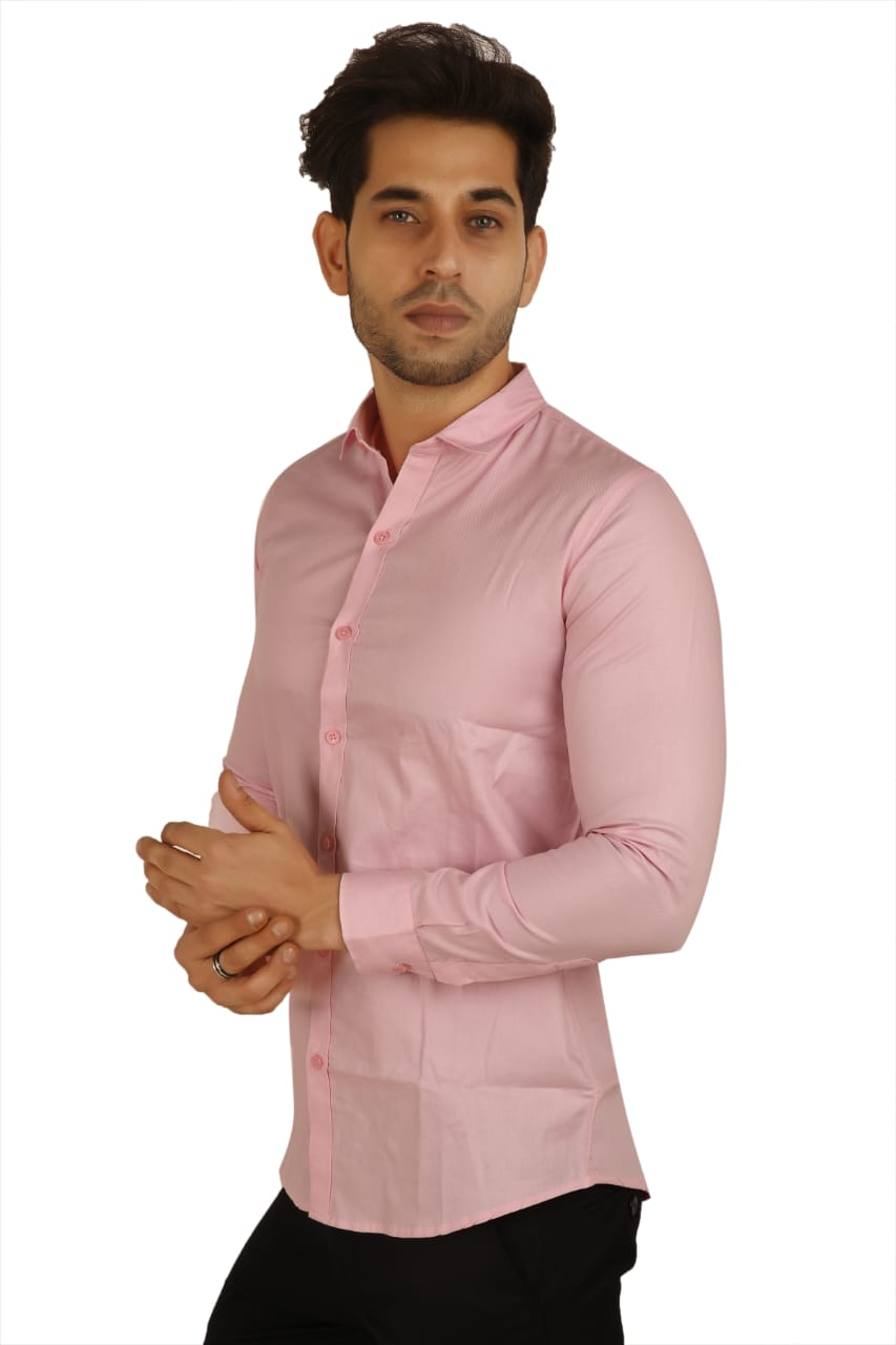 100% Cotton Pink Plain Solid Casual Regular Fit Full Sleeves Shirt for Men