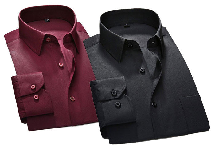 Pack of 2 Formal Shirts (Maroon  Black )