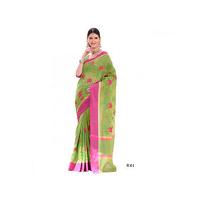 Banaras Supernet Saree With Blouse Piece -M.No 84