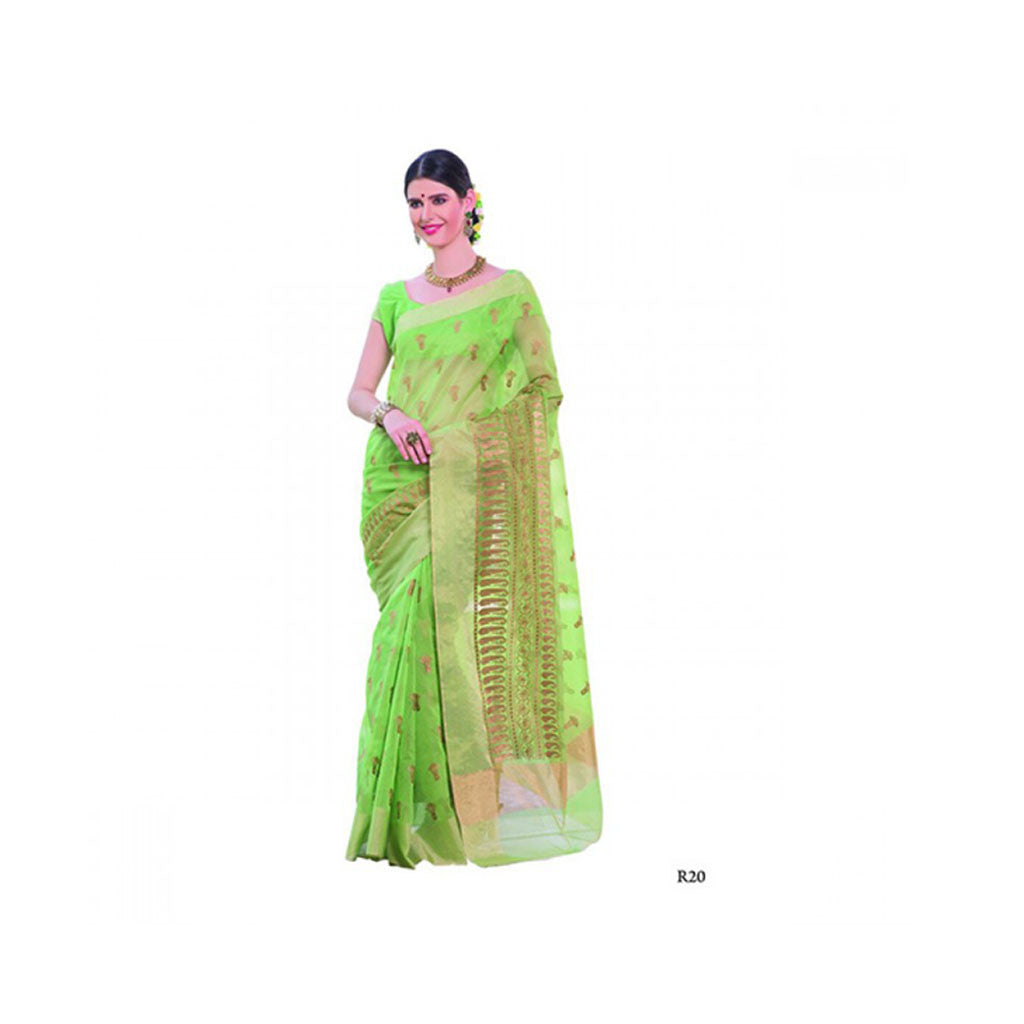 Banaras Supernet Saree With Blouse Piece -M.No 95