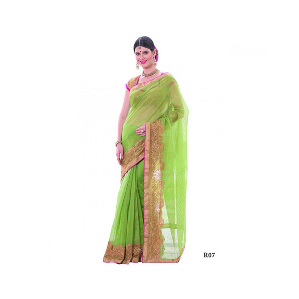 Banaras Supernet Saree With Blouse Piece -M.No 88