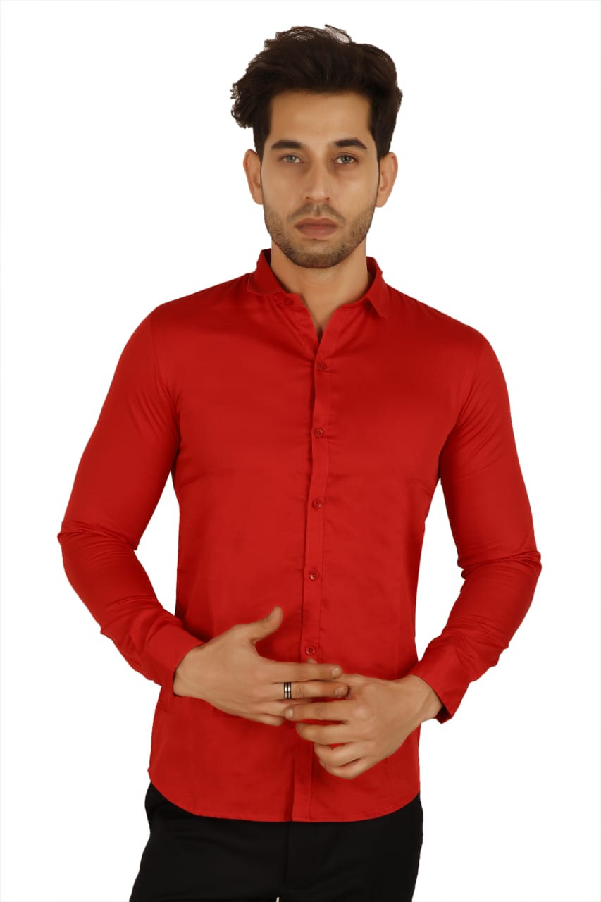 100% Cotton Red Plain Solid Casual Regular Fit Full Sleeves Shirt for Men