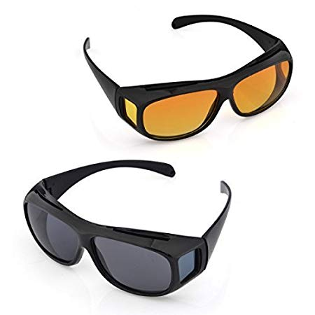 Pack of 2 Clear View Vision UV Protection Wraparounds Driving Glasses Sunglasses Black Yellow Reduce Glare and Shade Eyes