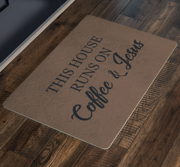 This House Runs On Coffee & Jesus - Doormat