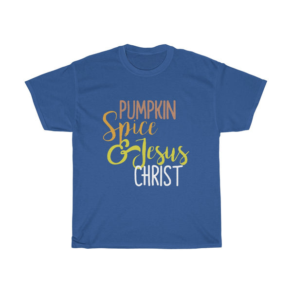 Pumpkin Spice & Jesus Christ Text T-Shirt