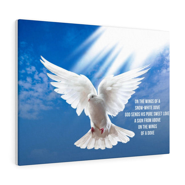 Wings Of Snow White Dove - Landscape Canvas
