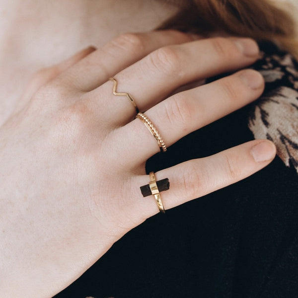 Gold Beaded Stack Ring