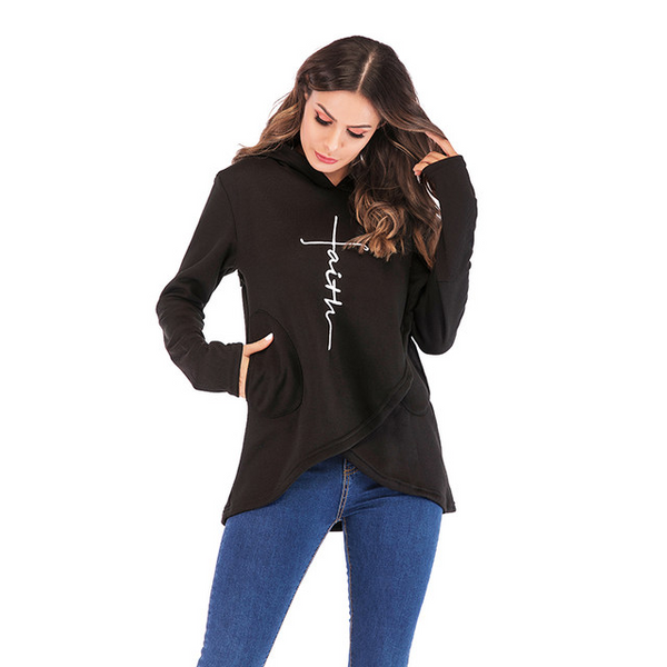 Women's Faith Shoppe Tulip Hem Hoodie Black