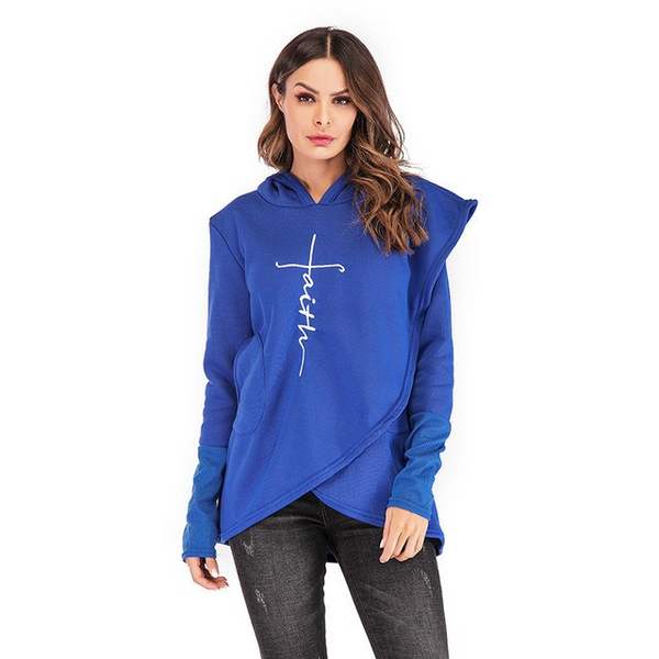 Women's Faith Shoppe Tulip Hem Hoodie Blue