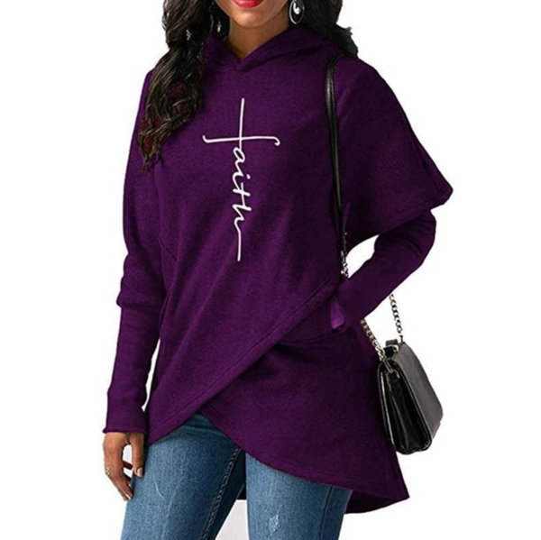 Women's Faith Shoppe Tulip Hem Hoodie Purple