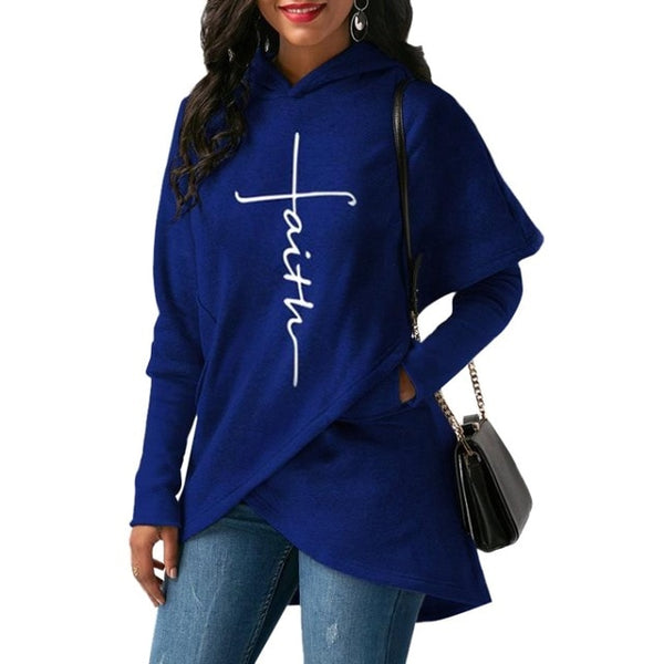 Women's Faith Shoppe Tulip Hem Hoodie Blue 2