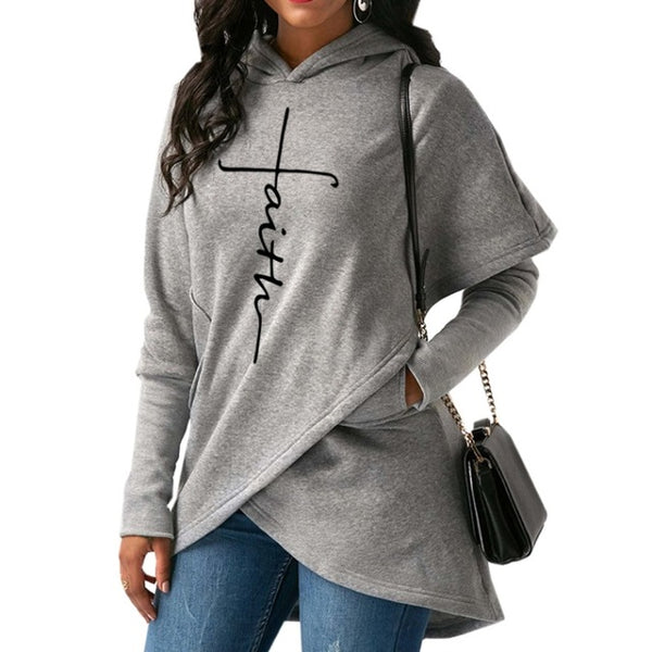 Women's Faith Shoppe Tulip Hem Hoodie Grey 2