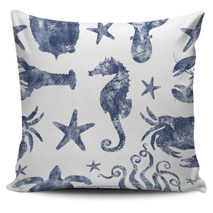 Coral Reef Sea Life in Blue - Pillow Covers