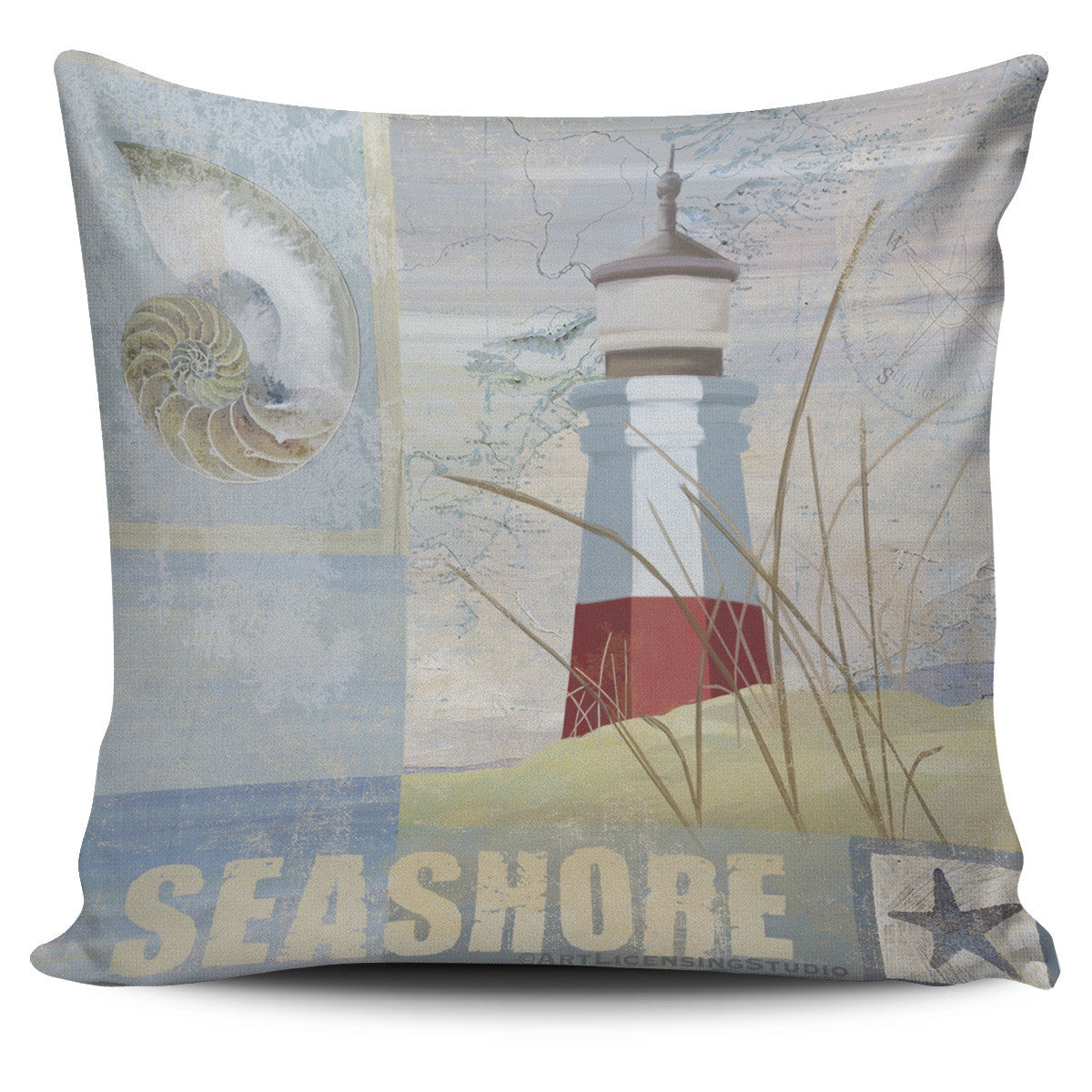 Lighthouse Designs in Tan - Pillow Covers