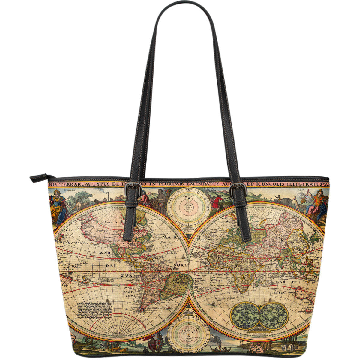 Vintage Nautical World Map - Leather Tote Bag, Large