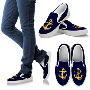 Nautical Boat Shoes Blue Anchor