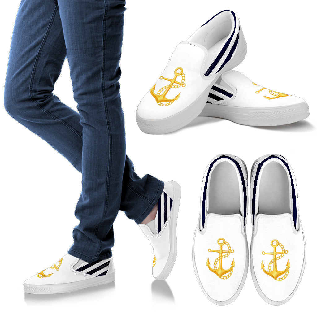 Nautical Boat Shoes Anchor Stripes