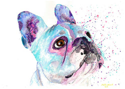 [french bulldog original watercolour painting] - Malika Pet Art