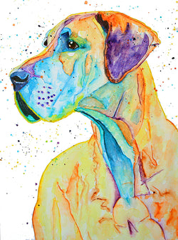 [great dane dog original watercolor painting] - Malika Pet Art