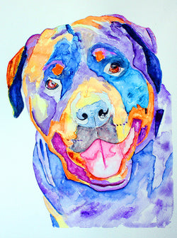 [rottweiler dog original watercolor painting] - Malika Pet Art