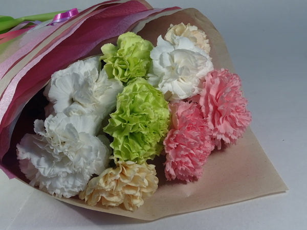 Carnations flowers bouquet, white, pink, green and yellow
