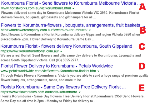 Google results for florist korumburra search - real florist or not?