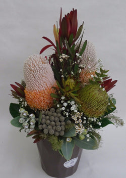 Australian Wildflowers arrangement in ceramic container