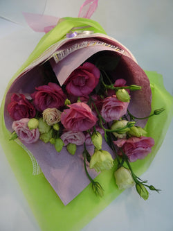 Bouquet wrap of colourful lisianthus flowers