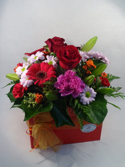 Florist prepared bright colours flowers