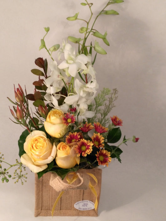 Autumn Floral Shades in Hessian