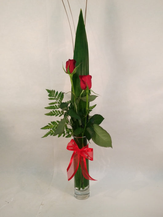 2 long stem red roses in decorative box