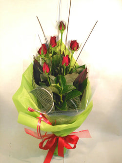 6 Red Roses Bouquet Arrangement