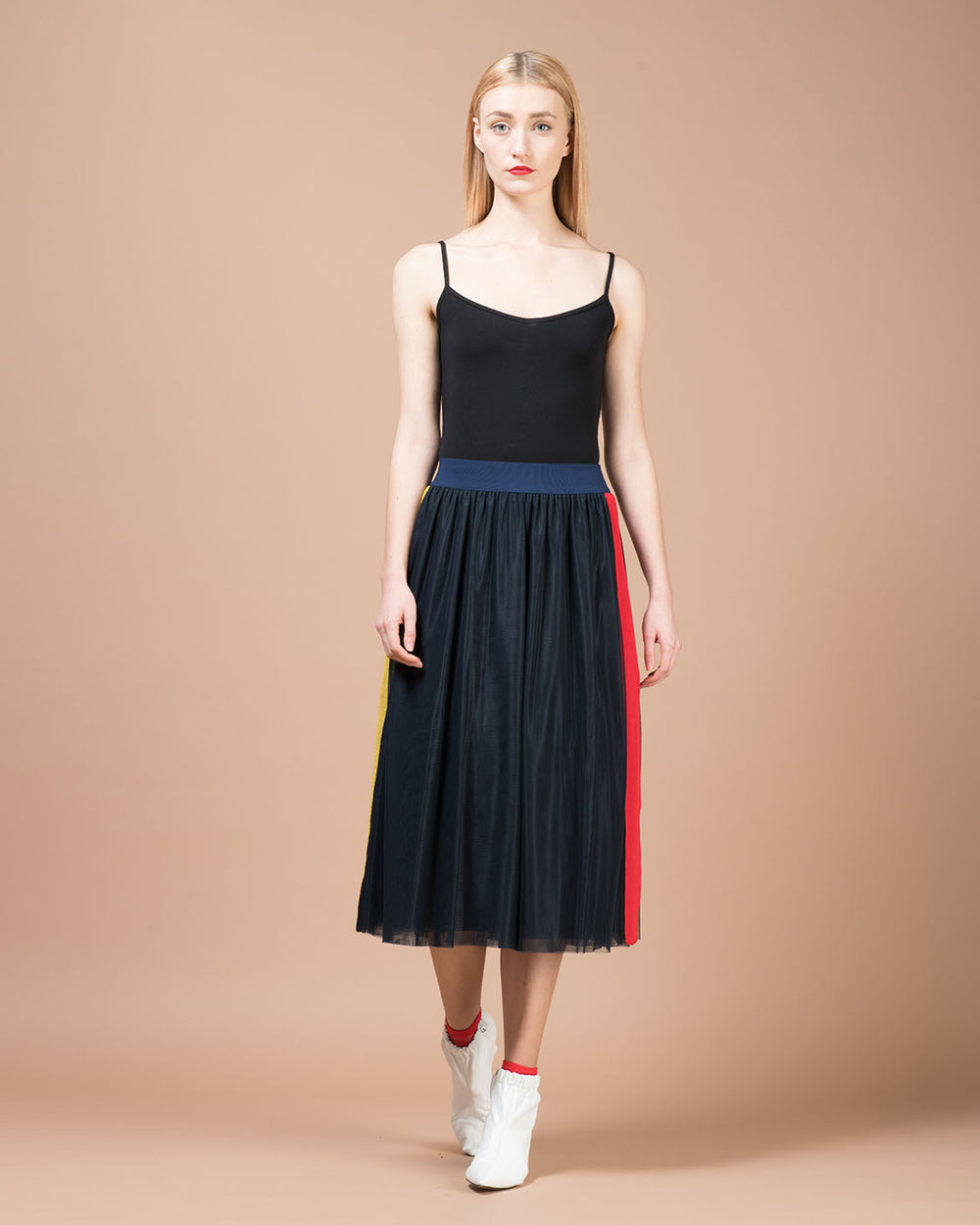 Black Tulle Midi Skirt