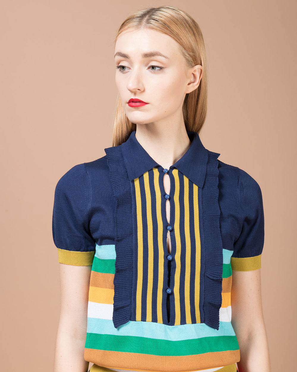 Blu Sweater with Multicolor Stripes
