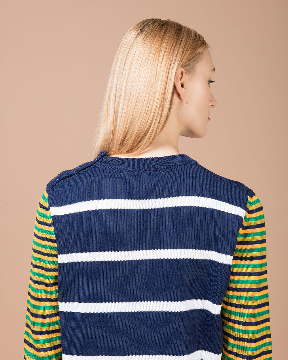 Blue Crewneck Sweater with Multicolor Sleeves