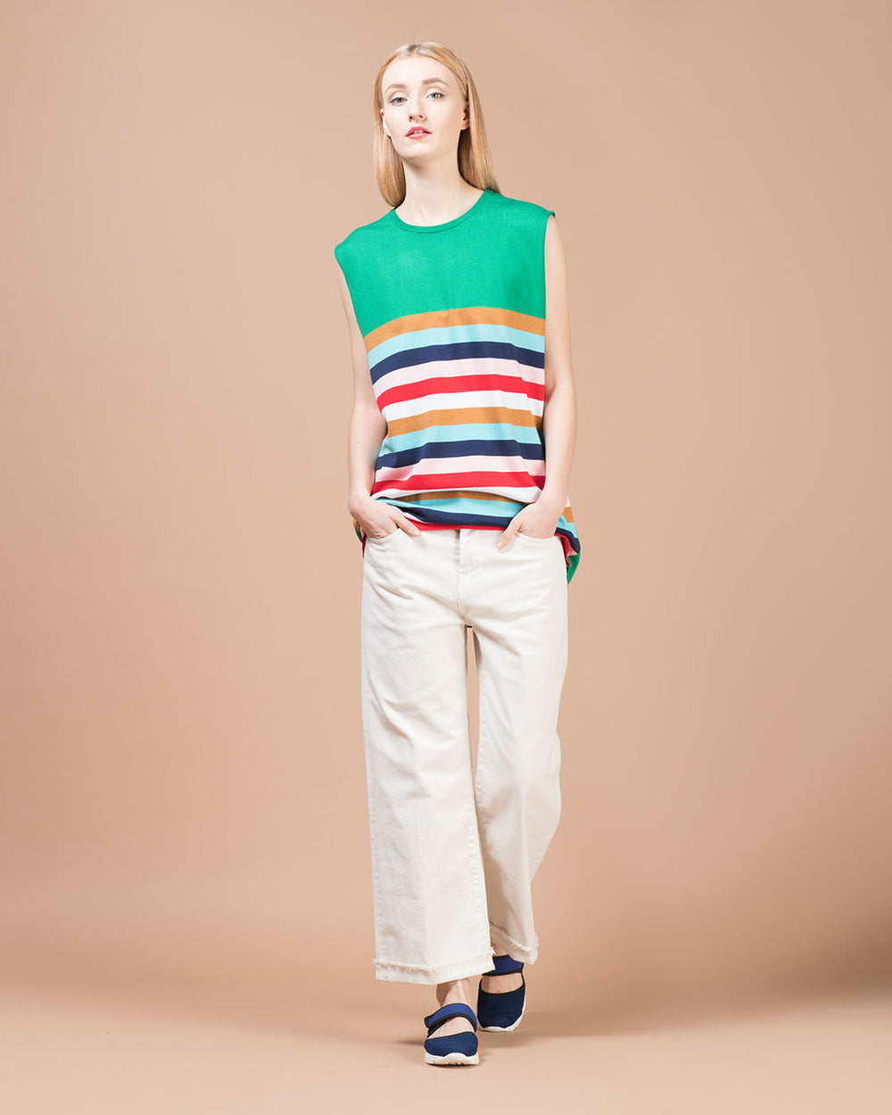 Green Oversized Sweater with Multicolor Stripes