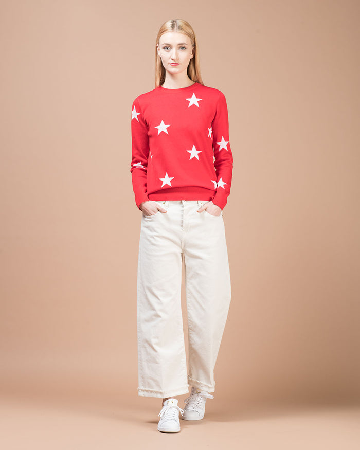 Red Crewneck Sweater with White Stars