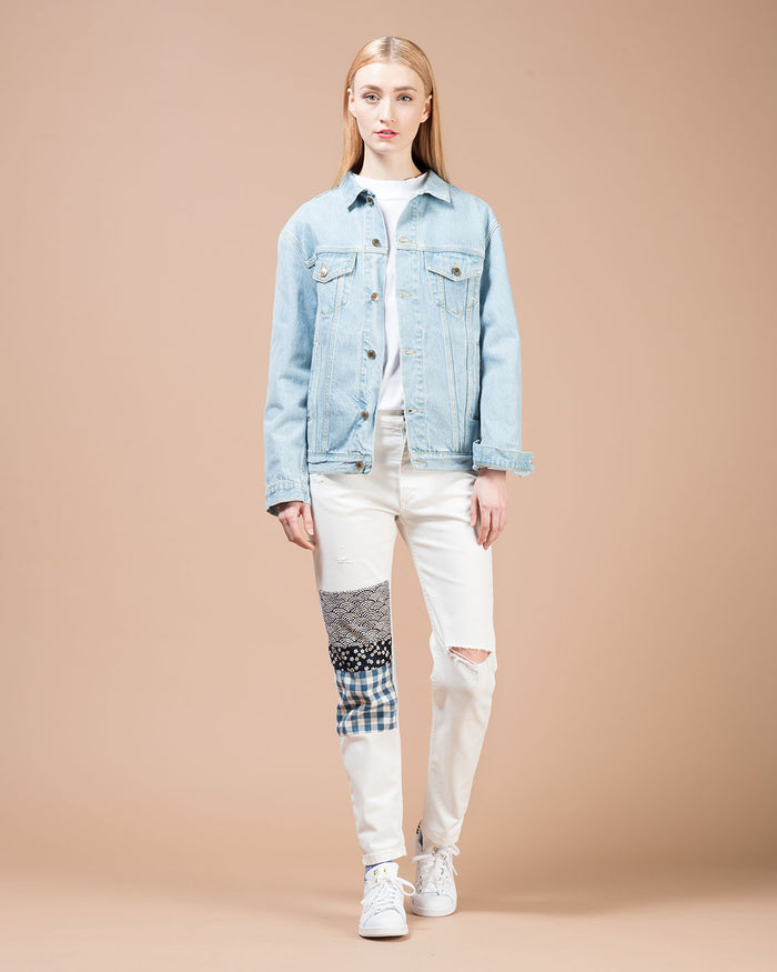 Blue Denim Lettering Print Jacket