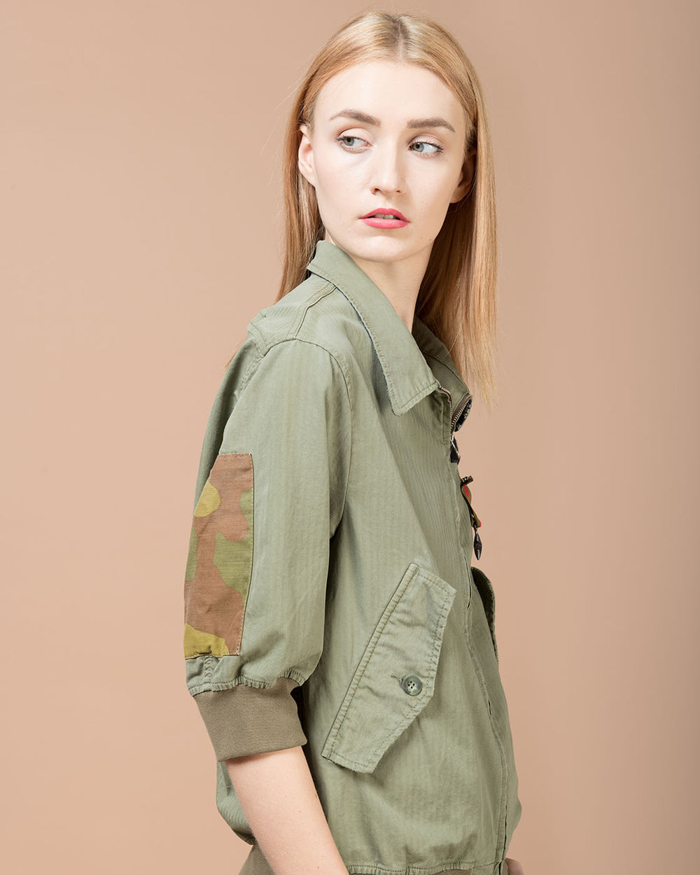 Green Decorative Patches Bomber Jacket