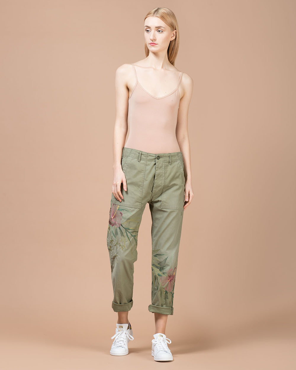 Green Embroidery Straight Leg Pants