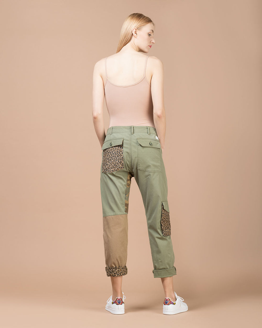 Green Patchwork Cargo Pants