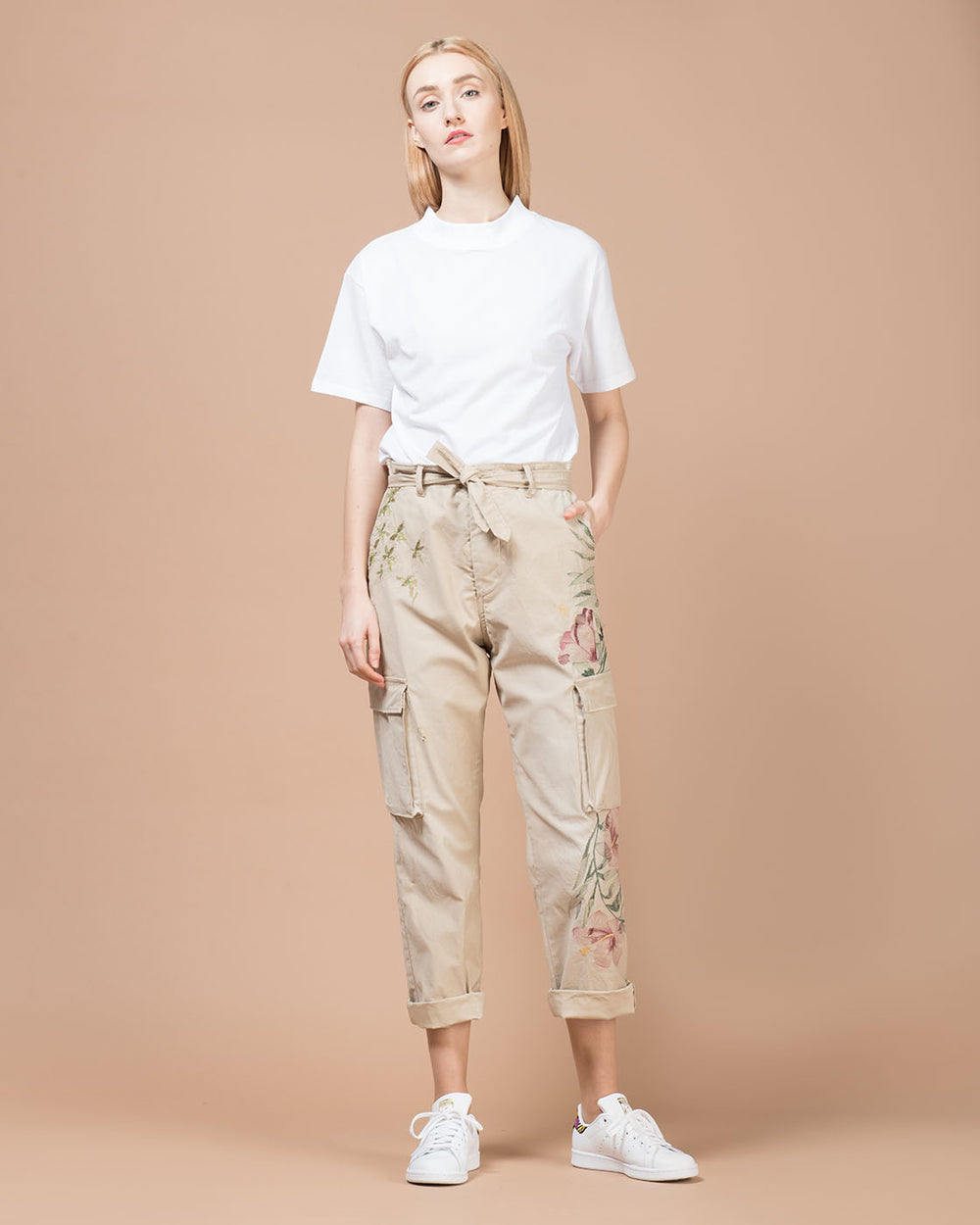 Khaki Embroidery Cargo Pants