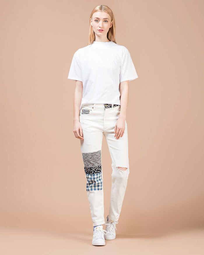 White Patchwork Straight Leg Jeans