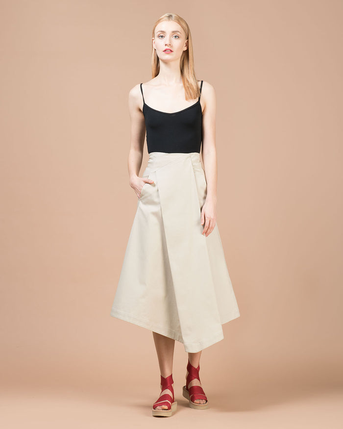 Beige Asymmetric Skirt