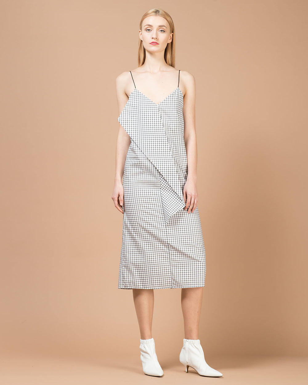 Black & White Checked Mid Length Dress
