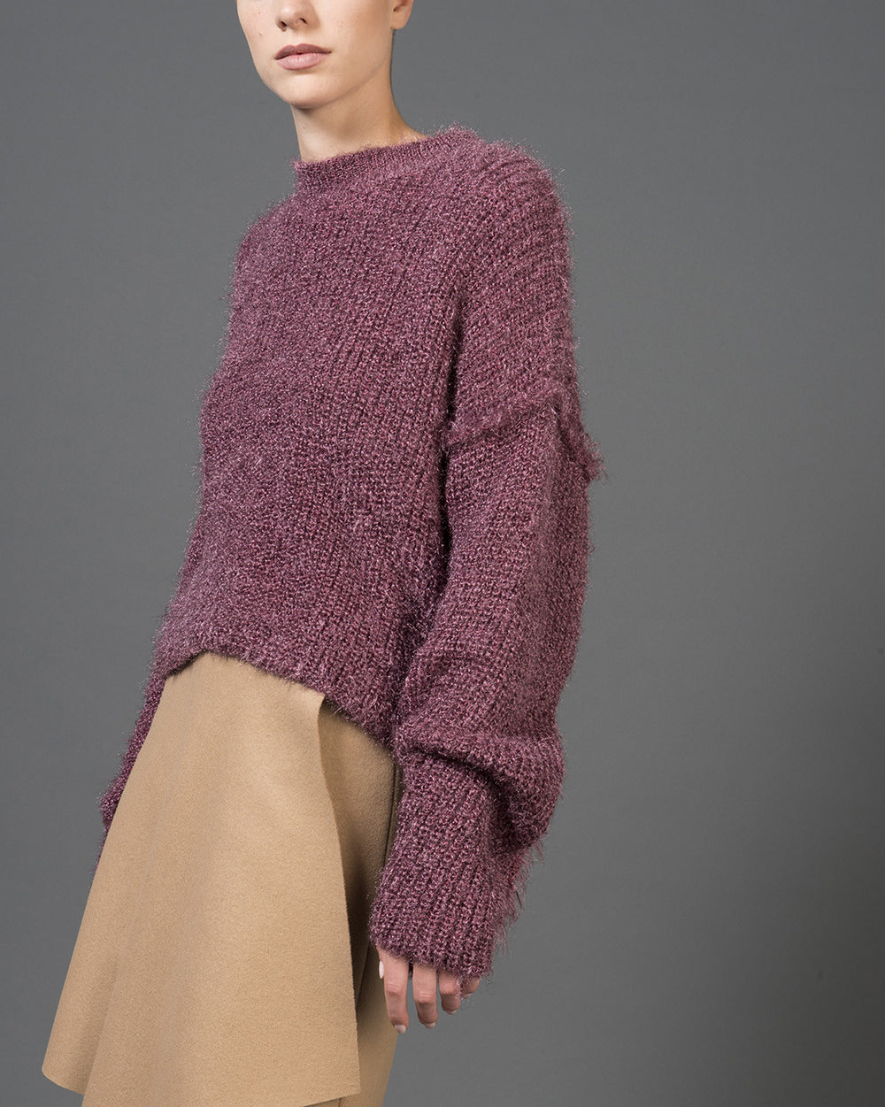 Black Cherry Cropped Reversed Sweater