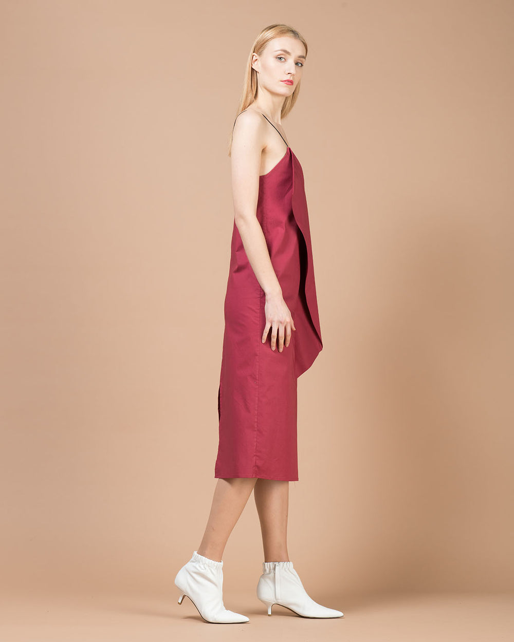 Women S Bordeaux Mid Length Dress By Alessia Xoccato