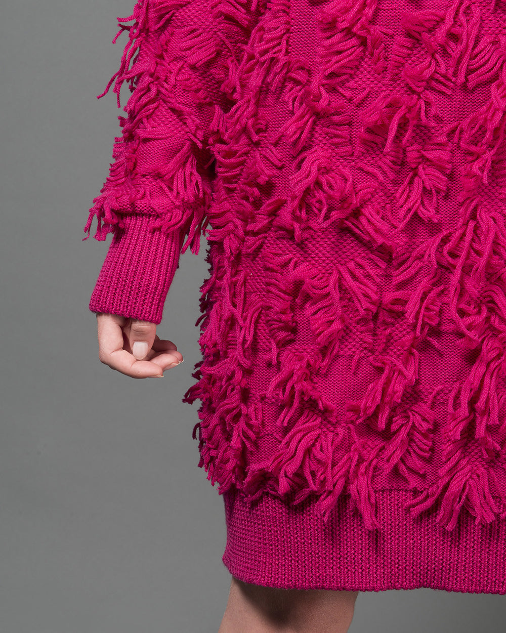 Fuchsia Furry Knit Dress